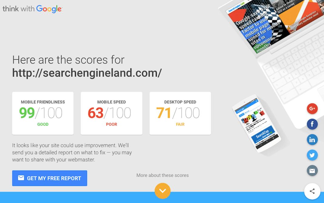 Google Website Design Speed Test Image